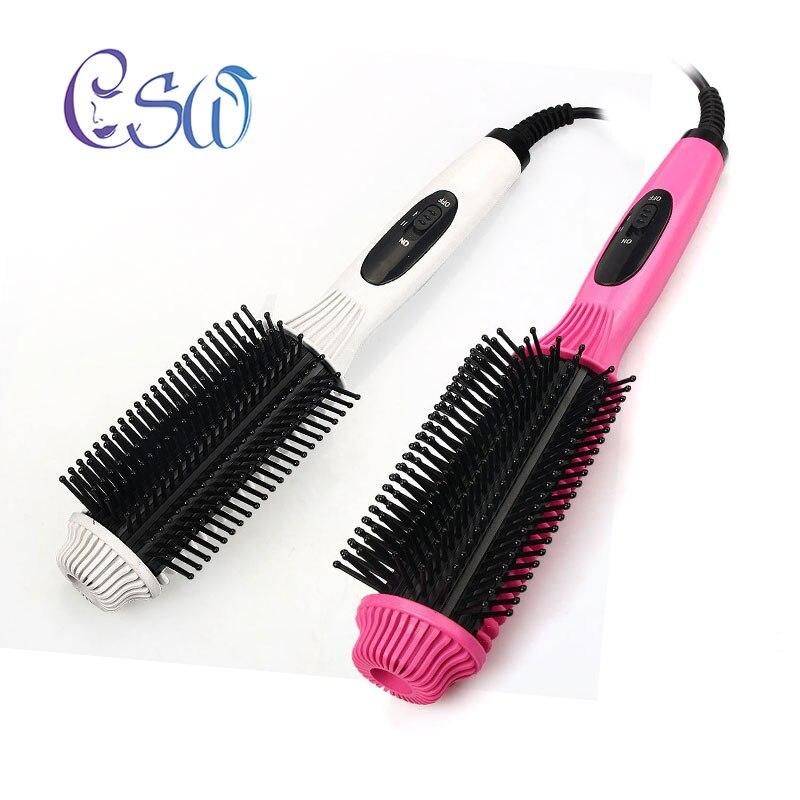 CSW Deux-En-Un Multifonction Électrique Défriser Les Cheveux Peigne Cheveux Bigoudi Anti-brûlure Plat Fer À Lisser Brosse curling Outil