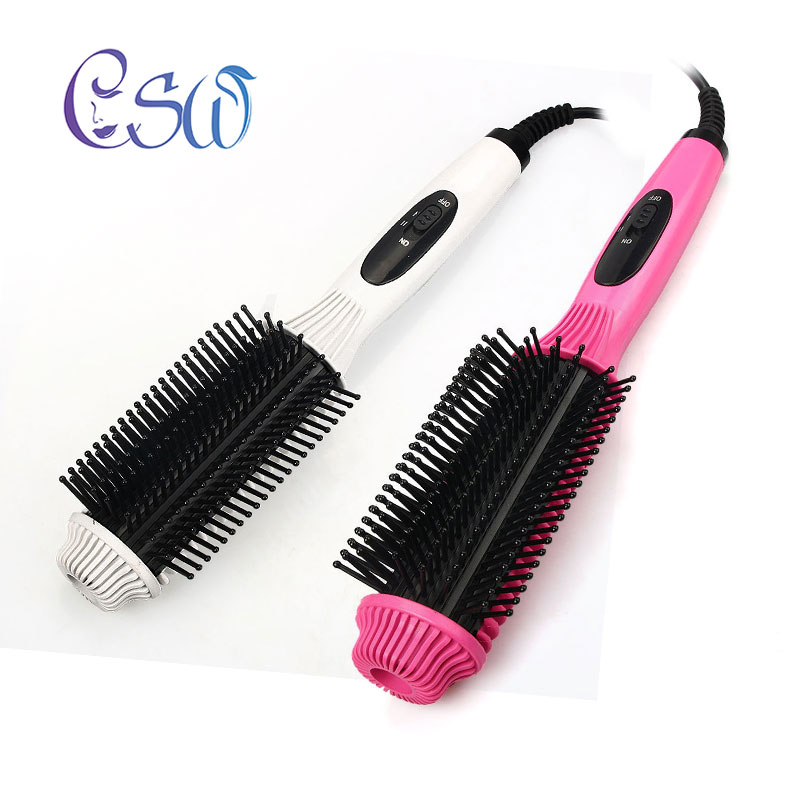 CSW Two-In-One Multifunctional Electric Hair Straightener Comb Hair Curler Anti-scald Flat Iron Straightening Brush Curling Tool