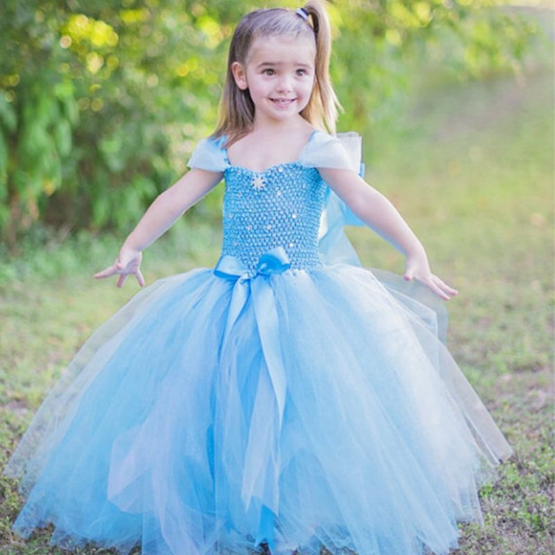 2017 Anna Elsa Princess Girl's Tutu Dresses Halloween Cosplay Costumes Girl's Party Ball Gown Dresses For Vestidos de festa girls party dress elsa anna princess costume christmas winter cinderella cosplay vestido long kids tutu festa infantil ball gown