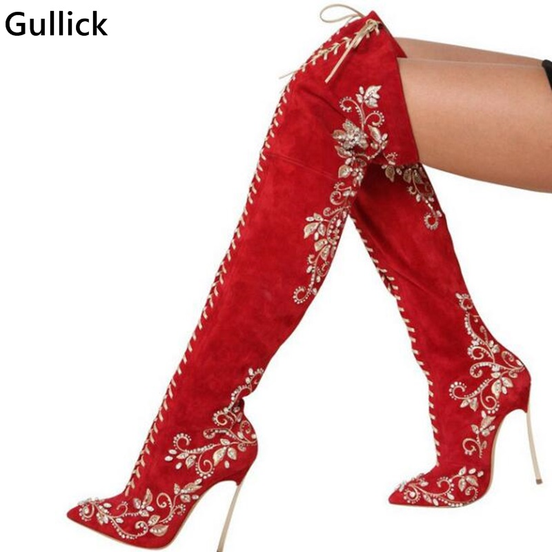 Newest Hot Fashion Sexy Red Suede Long Boots Shoes Upper Zipper Design Woman Embroidered Over-the-knee Boots Sexy Pointed Toe