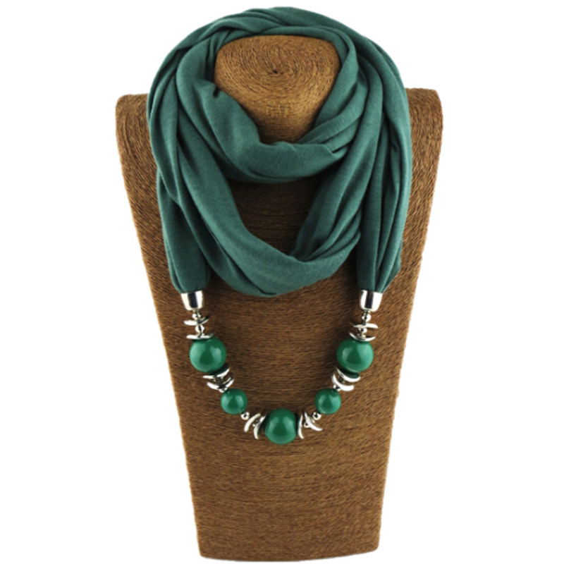 Fashion Ethnic Polyester Solid Collar Tassel Gorgeous Beads Pendants Jewelry Necklace Jewelry Scarf Women Shawl Scarves Hot