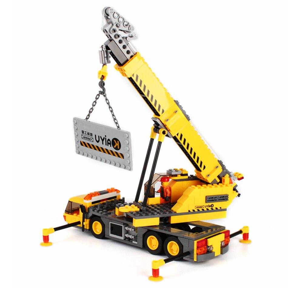 380pcs City Figures Engineering Crane Playmobil Building Block Bricks Set Excavator Model Kids Toys Gift Compatible Legoe Bricks