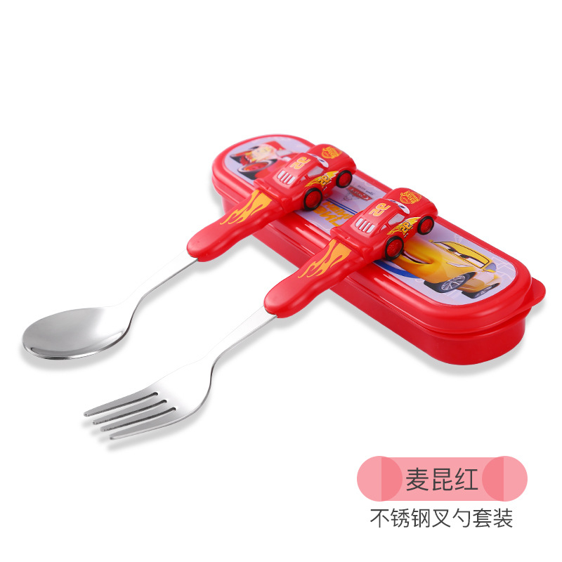все цены на Disney Children's Tableware Stainless Steel Baby Spoon Fork Set Portable Learning Spoon Baby Training Spoon