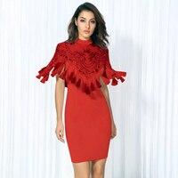 2018แฟชั่นโนวาสีแดงชุดผ้าพันแผลพู่ประดับด้วย