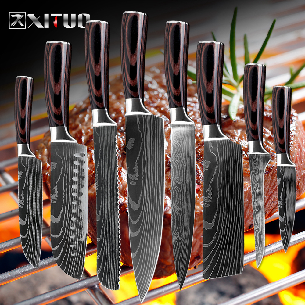 """8""""in. Japanese Kitchen Knives Damascus Pattern Chef Knife Sharp Cleaver Slicing Knives Tool"""