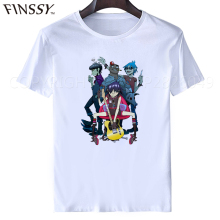 Gorillaz Rock Band Rap t shirt palace Hip Hop 2017 Men's Whit Graphic T-Shirt Gorillaz Mens Casual Summer Style(China)