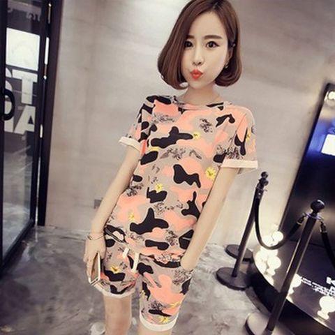 Women Camo Print Tshirt + Shorts Sleep Wear O-neck crimping Sleeve Home Nightgowns Girl Pajama Sets 2pcs Sleep & Lounge Pakistan