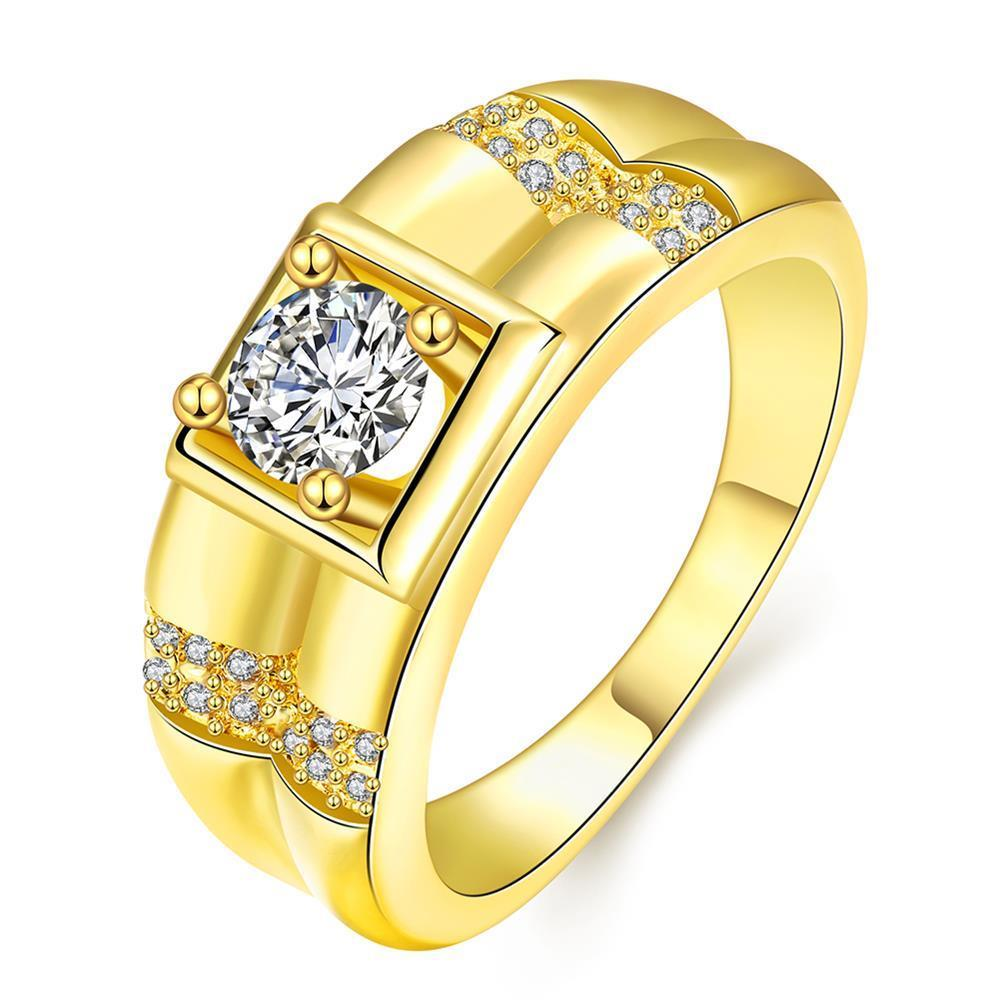 U-shine Fashion Store New Yellow Gold / Rose Gold /White Gold Color Men Ring Geometric Design CZ Wedding Ring Jewelry For Men