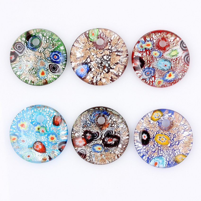 Fashion Beauty Wholesale 6pcs handmade Murano Lampwork Glass Mixed Colorful Drop Silver Foil Millefiori Pendants Charms pendants