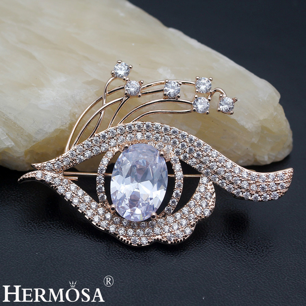 Brilliant Eye Shape Design Shiny Party Show Jewelry White CZ Rose Gold Brooch Pins Bridal Wedding Brooches Charms Lady Gift