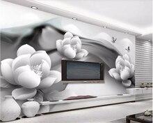 цены beibehang Custom 3D Mural Wallpaper Black and white ink lotus butterfly Hotel Cafe Background wallpaper for walls 3 d tapeta