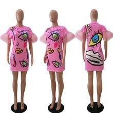 tube dress mini sexy interesting new 2018 summer cute bodycon loose Eye See you T-shirt Dress free shiping