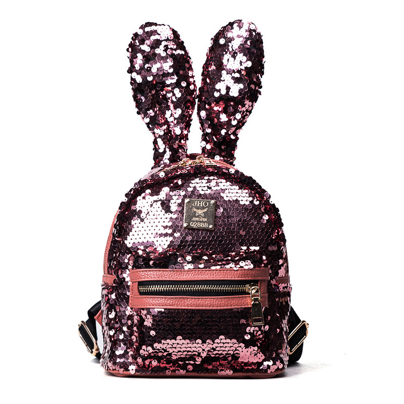 In the summer of 2017 fashion cute bunny ears small backpack pu sequins tide female bag