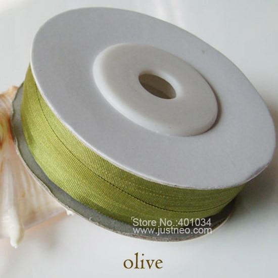 258 Olive 100% натуральная чистого шелка лента для Вышивка ручной работы, двойной Уход за кожей лица шелковой тафты Клейкие ленты 2/4/7/10/13/15/20/25 /32 мм, 10/30/100 м