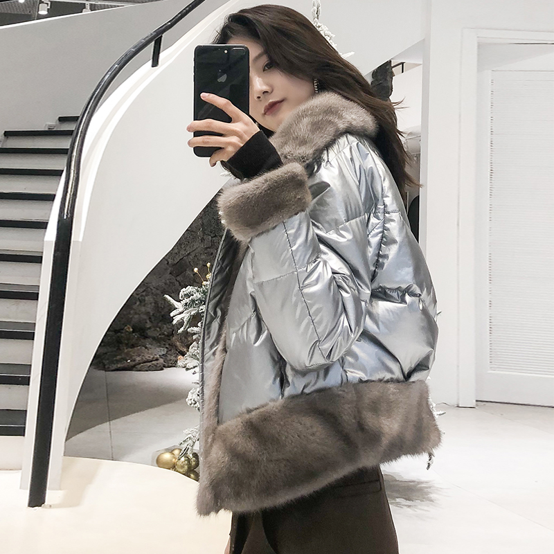 OFTBUY 2019 Real Fur Coat Silver Duck Down Coat Winter Jacket Women Parka Natural Mink Fur Thick Warm New Fashion Streetwear New
