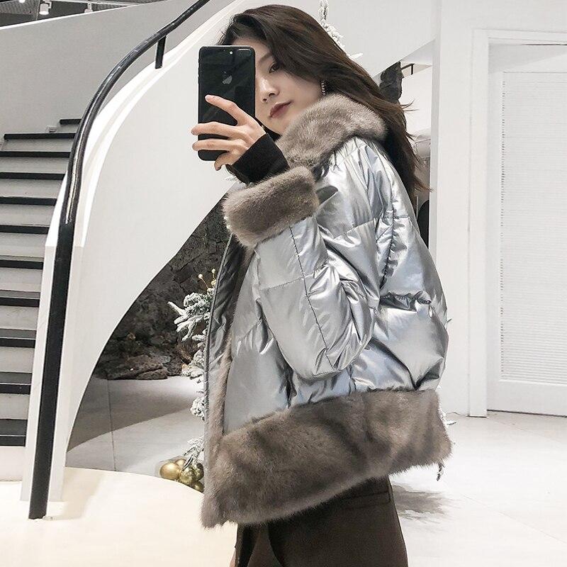 Kadın Giyim'ten Gerçek Kürk'de OFTBUY 2019 Gerçek Kürk Ceket Gümüş Ördek uzun kaban Kış Ceket Kadın Parka Doğal Vizon Kürk Kalın Sıcak Yeni Moda Streetwear yeni'da  Grup 1