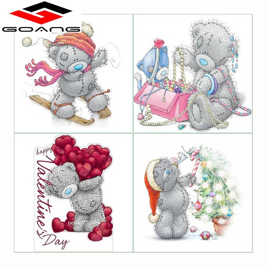 GOANG Najnowszy 5D Diament Malarstwo cartoon niedźwiedź DIY Plac - Sztuka, rękodzieło i szycie - Zdjęcie 1