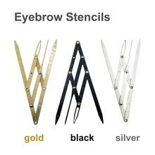 Paquímetro permanente, maquiagem com relação dourada, pinça para sobrancelhas, acessórios microblading, ferramenta de medição, estêncil, sobrancelha, 1 peça