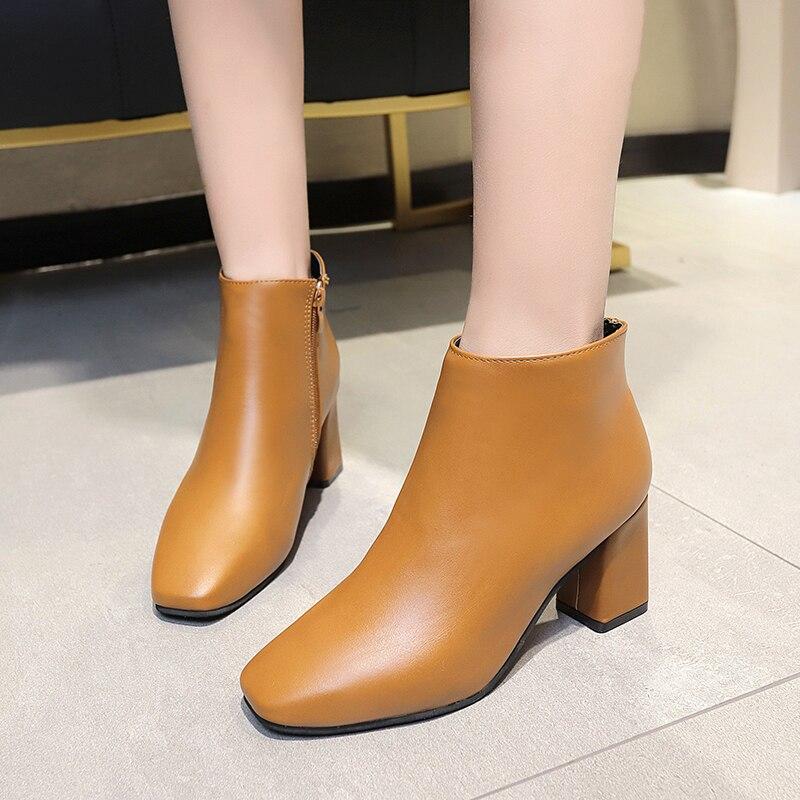 Black Block Boots Hqfzo Donna Brown Stivali Caviglia Zip Per Scarpe qvqw1IS fe2a90f7e45