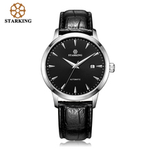 STARKING Automatic Watches Men Stainless Steel Business Wristwatch Leather Fashion 50M Waterproof Male Clock Relogio Masculino