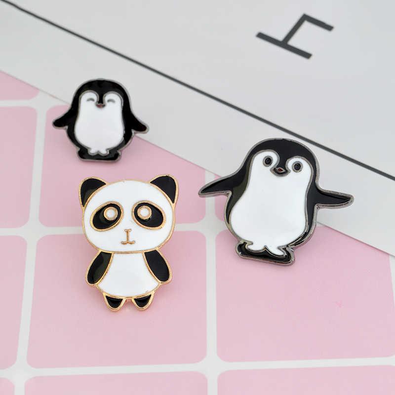 Мультфильм панда Пингвин мама детская брошь эмаль черные белые значки на рюкзак животных рубашка куртка значок на Воротник значок модные ювелирные изделия