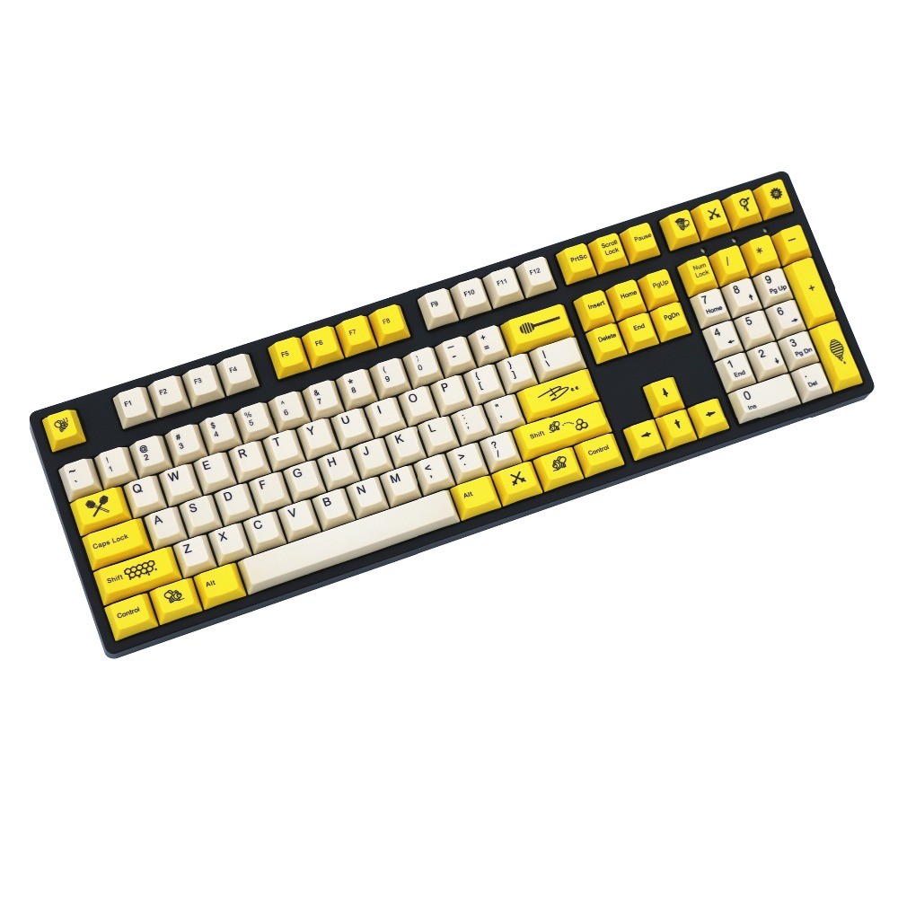 Bee Yellow/White 108/158 keys dye sublimated pbt keycap for mechanical keyboard Cherry Filco Ducky keycap Cherry profileBee Yellow/White 108/158 keys dye sublimated pbt keycap for mechanical keyboard Cherry Filco Ducky keycap Cherry profile