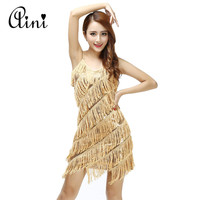 Sexy Women Stunning Flapper Fringe 1920s Gold Vintage Great Gatsby Charleston Sequin Party Latin Dance Dress