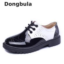 Детская Свадебная модельная обувь из натуральной кожи для девочек и мальчиков; детская черная обувь для школы; официальная обувь на плоской подошве; лоферы; мокасины; Новинка