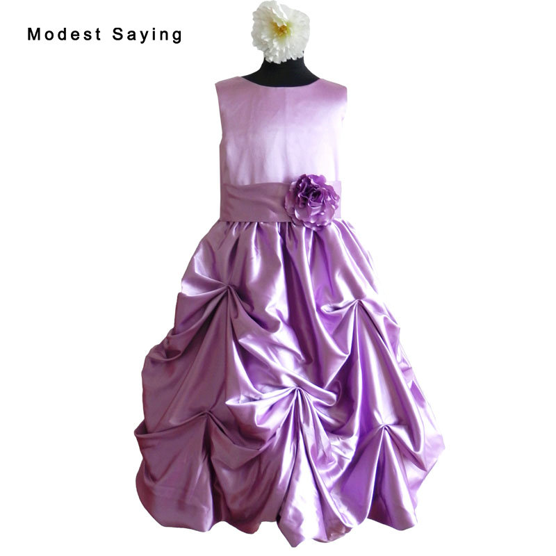 Lovely Purple A-Line Bow Ruffled   Flower     Girl     Dress   2017 with   Flowers   Ankle-Length kids Party Prom Gowns for   girl   pageant YF8