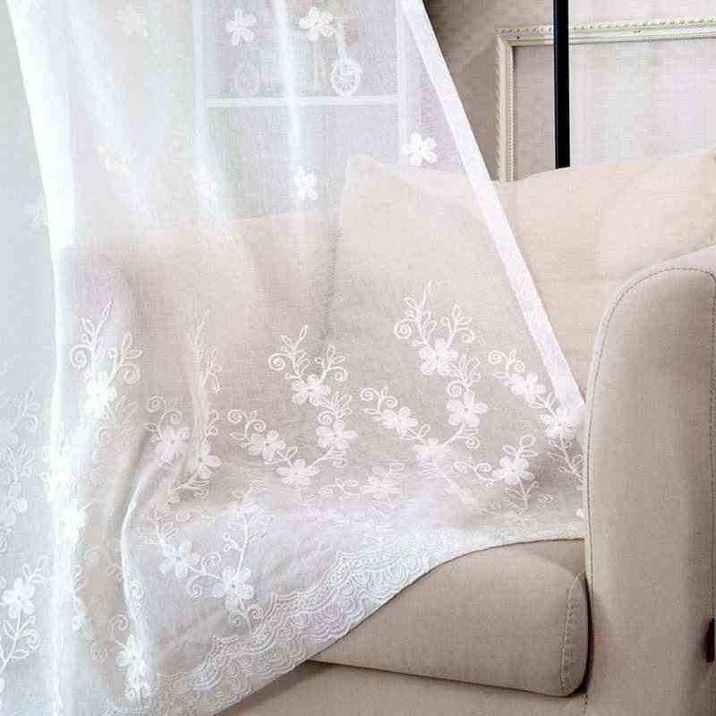 High-end Embroidery  curtains for living dining room bedroom  Rural Bedroom  Curtain Cotton Linen Custom Curtain