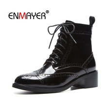 ENMAYER Women Ankle boots Pointed Toe High heels Short boots Flock Autumn Winter boots Thick heel Zipper Blue Black Shoes CR1717