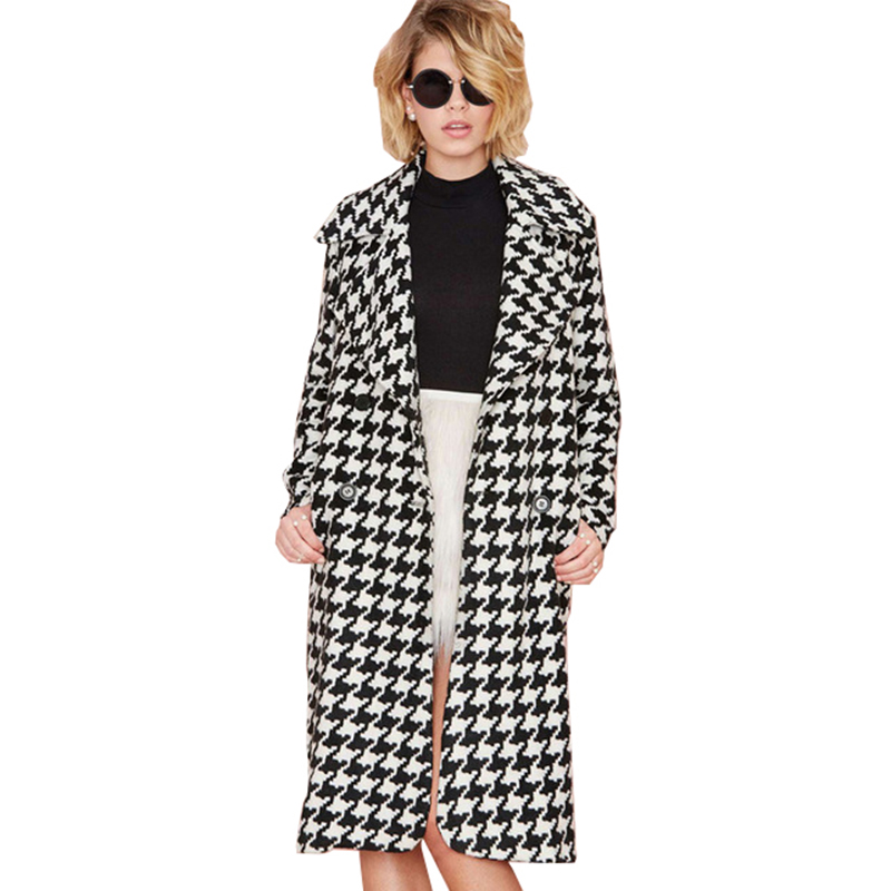 2018 New Autumn Female Houndstooth   Trench   Coats Windbreaker for Women Gorgeous Wool Blend Ladies Deep Fall Long Outwear Overcoat
