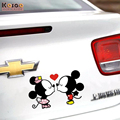 KOSOO Mickey Mouse cartoon 'kiss' Car Creative Stickers car stickers cover scratch Free Shipping 2size