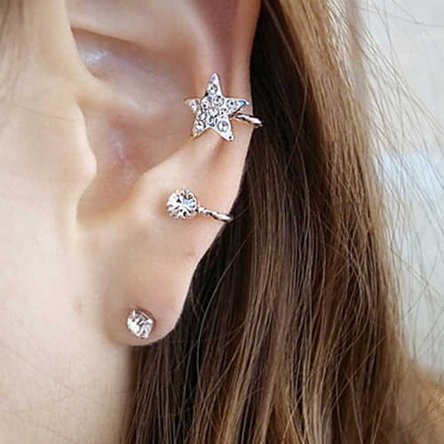 HOT! 1 Pc Women's Fashion Elegant Earring Rhinestone Ear Cuff Warp Clip Ear Stud  APZJ