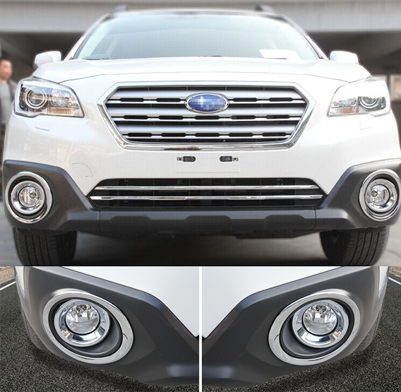 Accessories Fit For 2017 2016 Subaru Outback Chrome Front Fog Light Cover Trim Molding Lamp Foglight