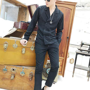 Men Slim Fit 2PCS Shirts Sets (shirt+pant) Male Fashion Striped Long Sleeve Casual Shirt Style Suit Jacket Trousers - DISCOUNT ITEM  23% OFF All Category