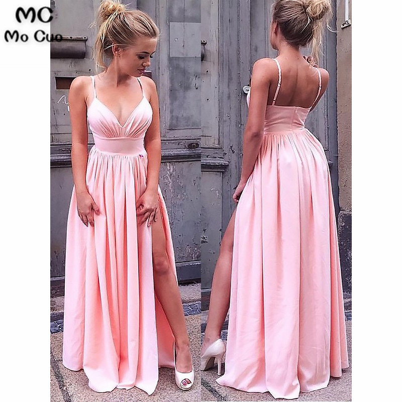 2019 Blush Pink   Evening     Dresses   Spaghetti Straps with Pleat Front Slit Shiny Satin A-Line Formal   Evening   Party   Dress   for Women