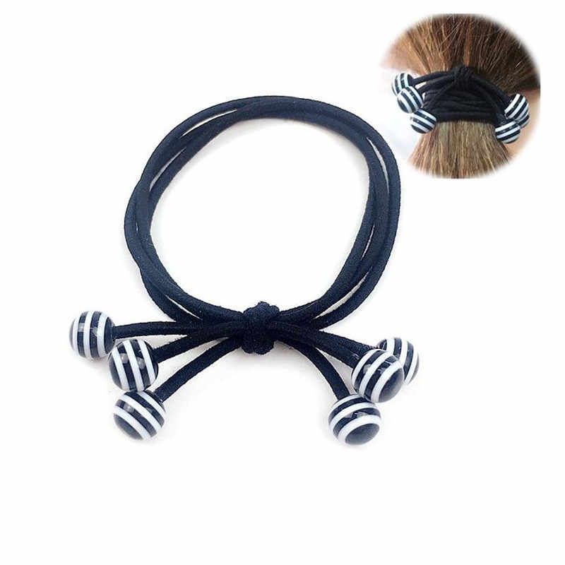 1PCS Black  Stripe Bead Hair Accessories For Women Headband,Elastic Bands For Hair For Girls,Hair Band Hair Ornaments For Kids