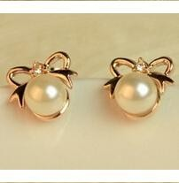 2015 New Arrivals fashion jewelry earrings imitation pearl bow rhinestone stud earring for women Free Shipping