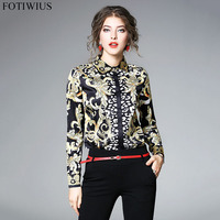 HIGH QUALITY Newest Fashion 2018 Runway Designer Shirt Women Long Sleeve Vintage Blouse Tops Ladies Office