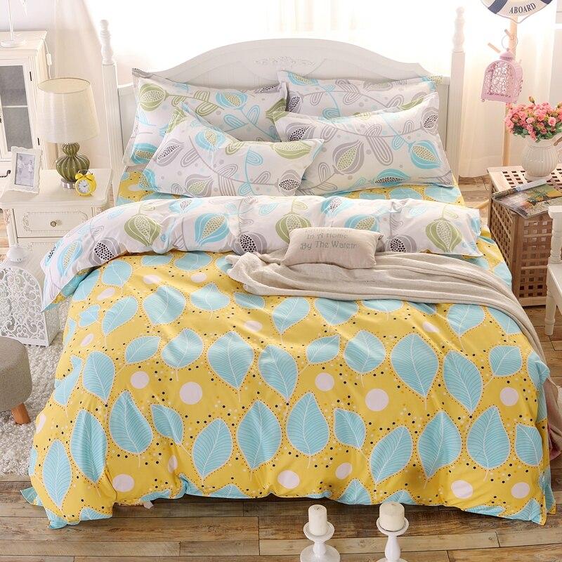 summer fashion bed linen leaves bedding set queen full