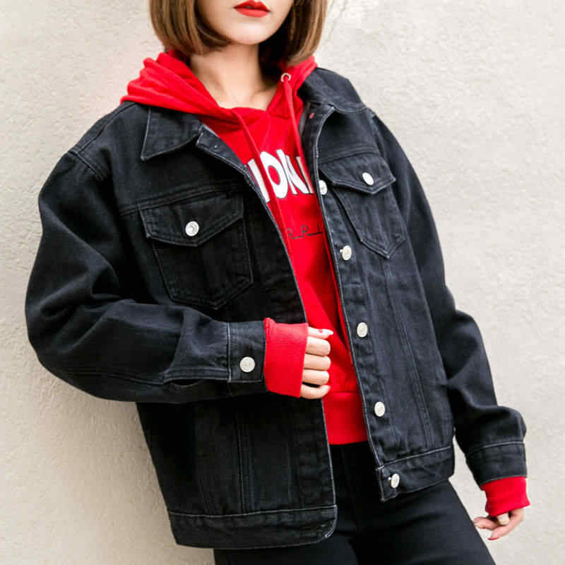 2019 Весна черный бомбер джинсовая куртка женская винтажная элегантная верхняя одежда джинсы куртки пальто Джинсовая женская