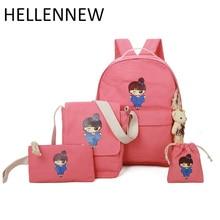 Hellennew милые Обувь для девочек печати холст рюкзак Для женщин Школьные сумки для подростков 4 шт./компл. Рюкзак Mochila Escolar2156
