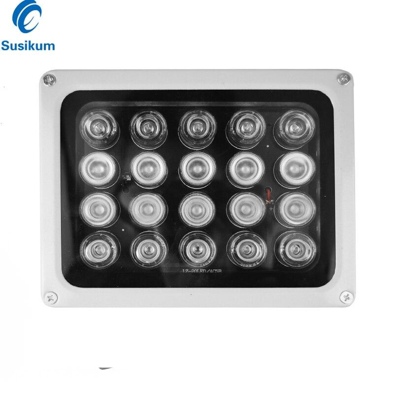 AC 220V CCTV lumière de remplissage 20 pièces rangée de LED IR illuminateur lampe infrarouge extérieur étanche Vision nocturne pour caméra de vidéosurveillance