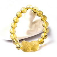 Bright Yellow Crystal Bracelet Pi Xiu Shaped Round Beads Bracelets Natural Stone Buddha Charms men's bracelets Bangles Jewelry