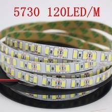 120leds/m 5M led şerit SMD 5730 esnek led bant ışık SMD 5630 su geçirmez beyaz/sıcak beyaz 4000K NWDC12V