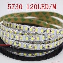 Cinta de luz led Flexible SMD 120, leds 5730/m, 5M, no impermeable, Blanco/Blanco cálido, 5630 K, NWDC12V