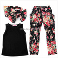 2016 New arrival Girls' suits of floral t-shirt + pants + headband scarf girls casual vest harem pants kids clothes free ship