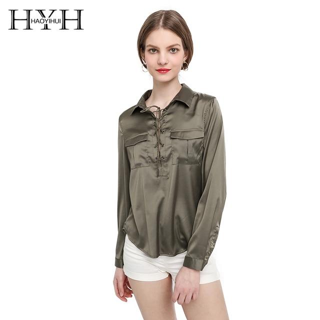 cf3ba46cc127 HYH HAOYIHUI 2017 Brand New Summer Fashion Ladies Office Shirts Lace Top  Long Sleeve Designer Tops