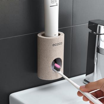 Automatyczny dozownik pasty do zębów z tworzywa sztucznego pasta do zębów pasta do zębów do łazienki akcesoria do montażu na ścianie uchwyt do pasty do zębów wyciskacz do rur tanie i dobre opinie Stocked Eco-Friendly Rice fiber+PP